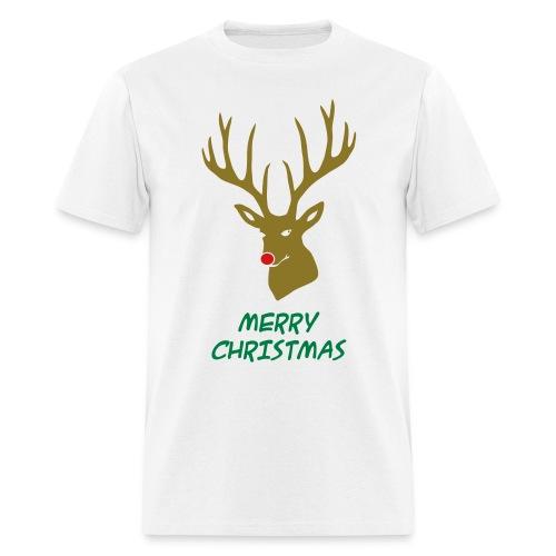animal t-shirt christmas x-mas merry reindeer deer rudolph red nose antlers buck heart - Men's T-Shirt