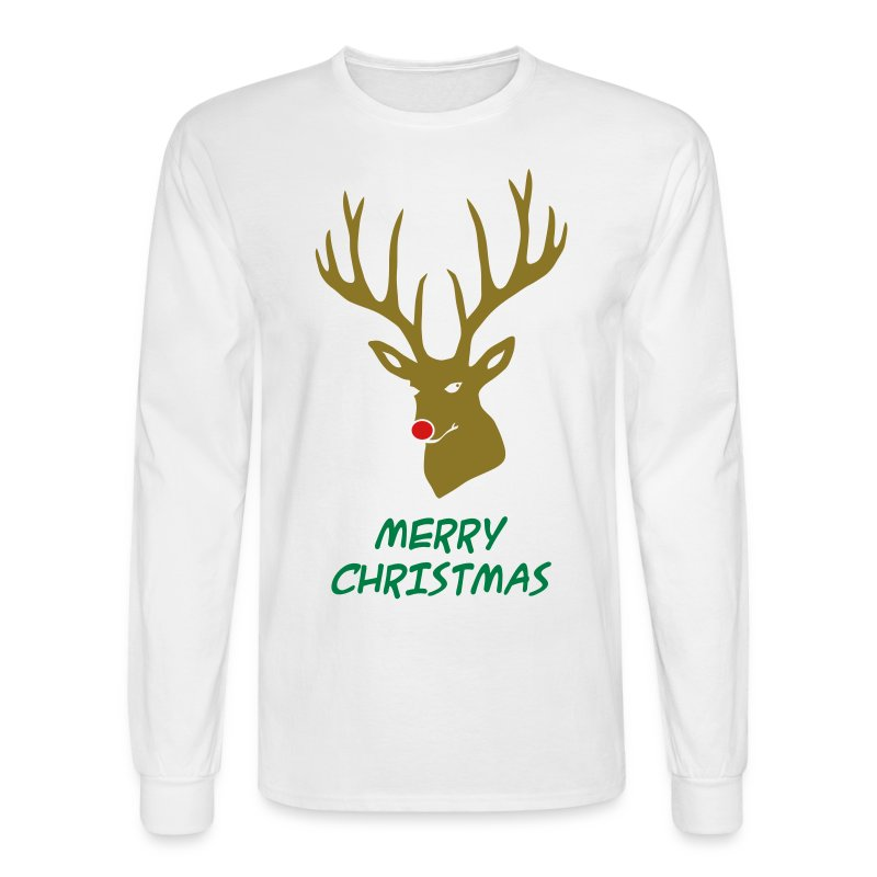 animal t-shirt christmas x-mas merry reindeer deer rudolph red nose antlers buck heart - Men's Long Sleeve T-Shirt