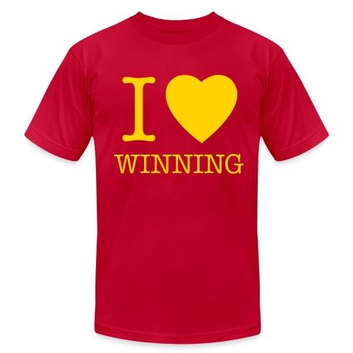 I Heart Winning - Gold on Purple - Men's Fine Jersey T-Shirt