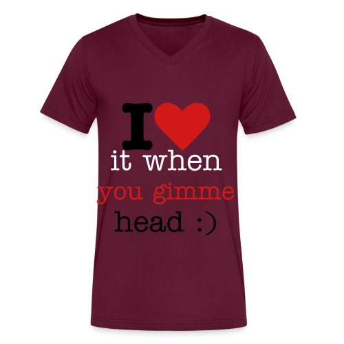 i love it when you gimme head , but i hate it when you gimme head-aches ! - Men's V-Neck T-Shirt by Canvas