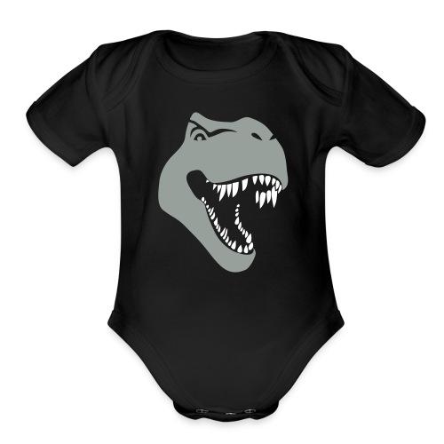 animal t-shirt tyrannosaurus rex t-rex  dino dinosaur jurassic raptor - Organic Short Sleeve Baby Bodysuit