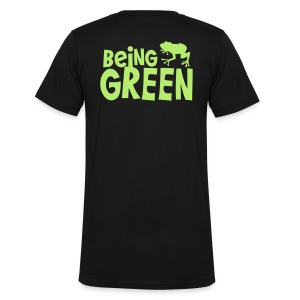 being green with cute little froggy T-Shirts - Men's V-Neck T-Shirt by Canvas