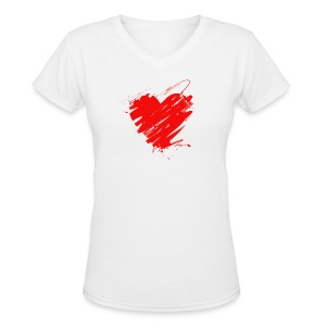 Abstract Heart Slim Fit Tee - Women's V-Neck T-Shirt