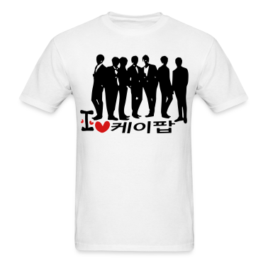 I Love K-POP in korean language txt vector graphic line art Men's Standard Weight T-Shirt