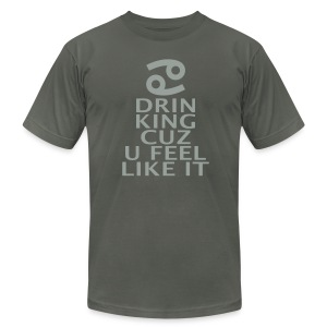 Cancer Zodiac Drinking  - Men's T-Shirt by American Apparel