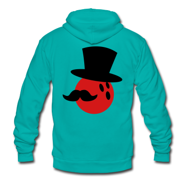 BOWLING ball with a top hat and Mustache Zip Hoodies/Jackets