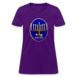 Golden Hanukkah Oval - Women's T-Shirt