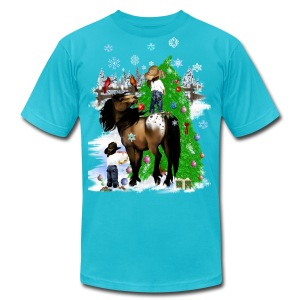 A Horse and Kid Christmas - Men's T-Shirt by American Apparel
