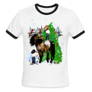 A Horse and Kid Christmas - Men's Ringer T-Shirt
