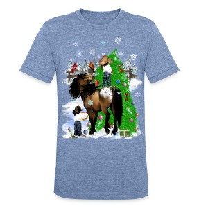 A Horse and Kid Christmas - Unisex Tri-Blend T-Shirt by American Apparel