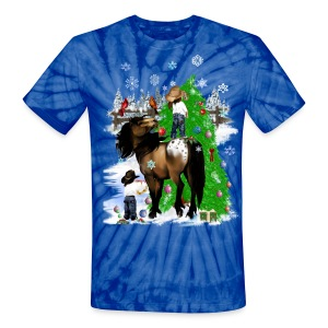 A Horse and Kid Christmas - Unisex Tie Dye T-Shirt