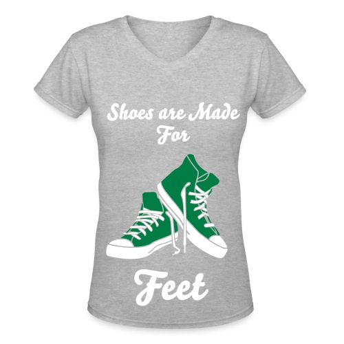 Shoes Are Made For Feet Women's Tee(Green Shoes) - Women's V-Neck T-Shirt