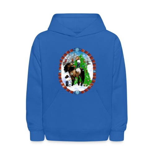 A Horse and A Kid Christmas Oval - Kids' Hoodie