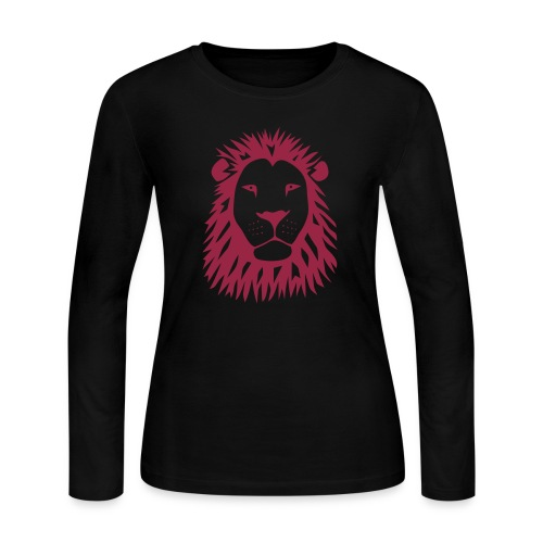 animal t-shirt lion tiger cat king animal kingdom africa predator simba strong hunter safari wild wildcat bobcat panther cougar - Women's Long Sleeve Jersey T-Shirt