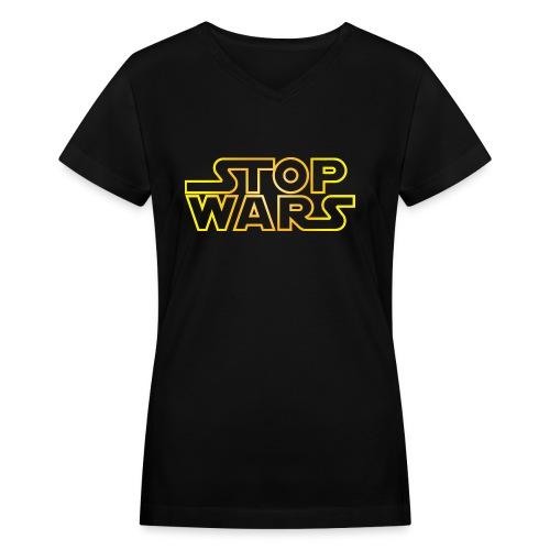 Women's stop wars v-neck - Women's V-Neck T-Shirt