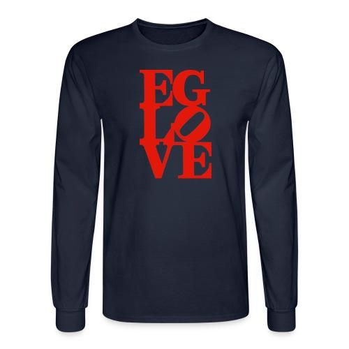 EG LOVE (all red) Men's Long Sleeve Tee Navy - Men's Long Sleeve T-Shirt