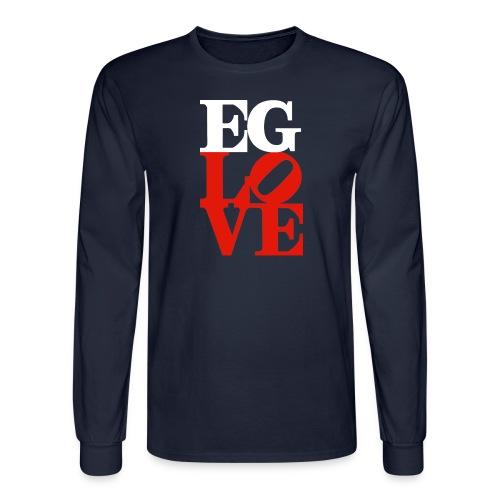 EG LOVE (white and red) Men's Long Sleeve Tee Navy - Men's Long Sleeve T-Shirt