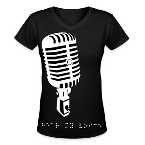 Hear my voice braille font - Women's V-Neck T-Shirt