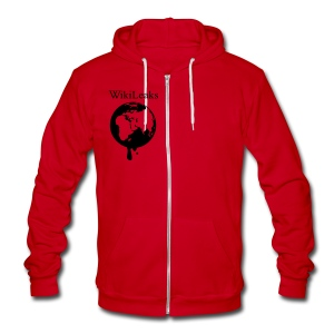 WikiLeaks - Dripping Globe - Unisex Fleece Zip Hoodie by American Apparel