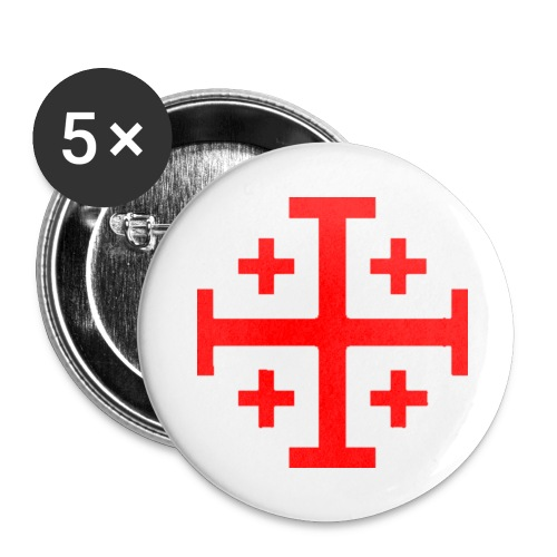 Small Button w/ Red Jerusalem Cross - Small Buttons