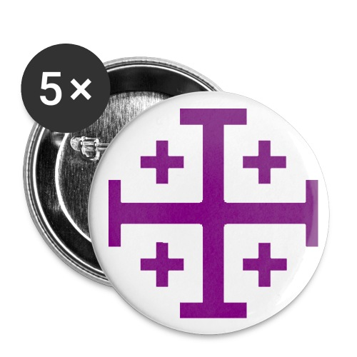 Small Button w/ Purple Jerusalem Cross - Small Buttons