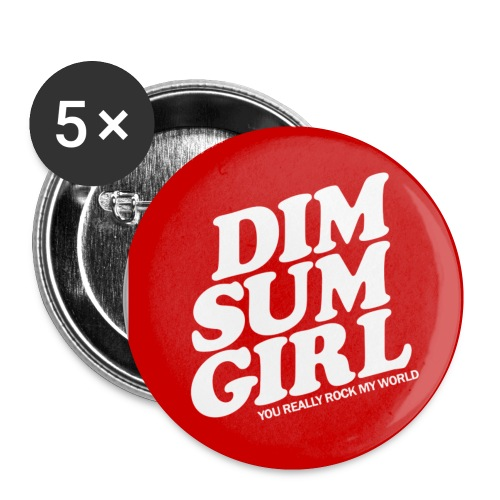 Dim Sum Girl Red Buttons - Buttons small 1'' (5-pack)