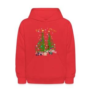 Artsy Christmas Tree and Decorations-lettered - Kids' Hoodie