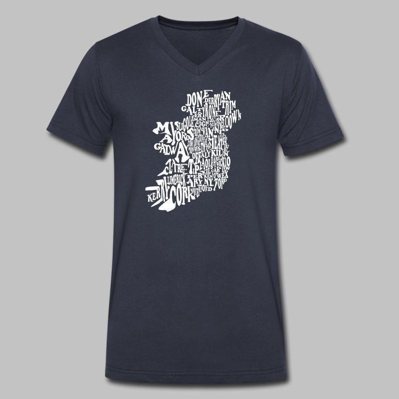 County Name Map - Men's V-Neck T-Shirt by Canvas