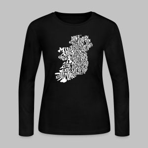 County Name Map - Women's Long Sleeve Jersey T-Shirt