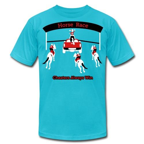 Horse Race - Cheaters Always Win - Mens T-Shirt - Men's Fine Jersey T-Shirt