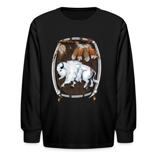 White Buffalo Sheild - Kids' Long Sleeve T-Shirt