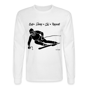 Eat Sleep Ski Repeat - bw - Men's Long Sleeve T-Shirt