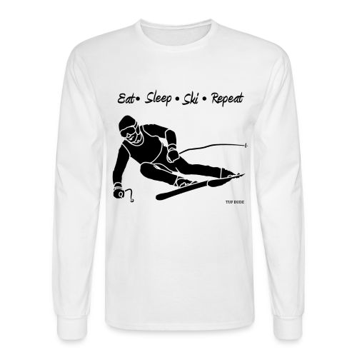 Eat Sleep Ski Repeat - bw - Men's Long Sleeve T-Shirt