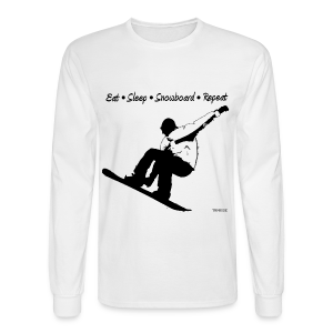 Eat Sleep Snowboard Repeat 002 - bw - Men's Long Sleeve T-Shirt