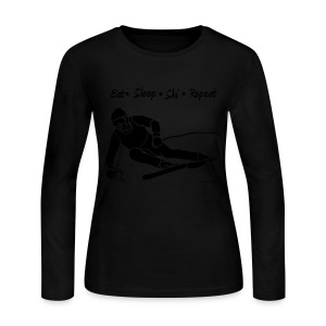 Eat Sleep Ski Repeat - bw - new001 - Women's Long Sleeve Jersey T-Shirt