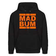 Hoodies ~ Men's Hoodie ~ Mad Bum Black Hooded Sweatshirt