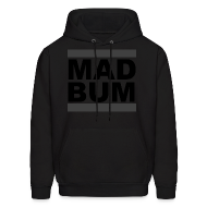 Hoodies ~ Men's Hoodie ~ Mad Bum Black Hooded Sweatshirt (Blackout)