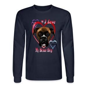 I Love  My Boxer Dog - Men's Long Sleeve T-Shirt