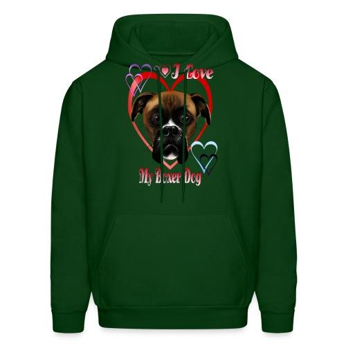 I Love  My Boxer Dog - Men's Hoodie
