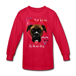 I Love  My Boxer Dog - Kids' Long Sleeve T-Shirt