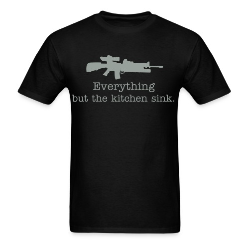 Everything but the kitchen sink AR15 gray text - Men's T-Shirt