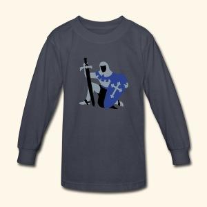 Knight kneeling Medieval design by patjila2 - Kids' Long Sleeve T-Shirt