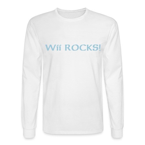 White Long Sleeve Wii ROCKS! - Men's Long Sleeve T-Shirt