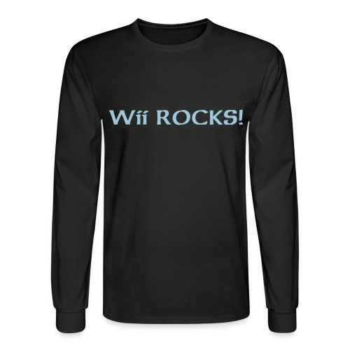 Black Long Sleeve Wii Rocks!  - Men's Long Sleeve T-Shirt