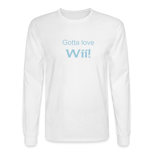 Black long sleeve tee Sky Blue text: - Men's Long Sleeve T-Shirt