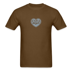 Men's Joyful Vegan Shirt - Brown with Blue Heart - No Back Quote - Men's T-Shirt