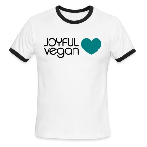 Men's Joyful Vegan Heart Ringer - No Back Quote - Men's Ringer T-Shirt