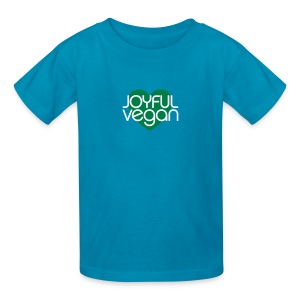 Children's Joyful Vegan Orange Shirt/Green Heart - Kids' T-Shirt