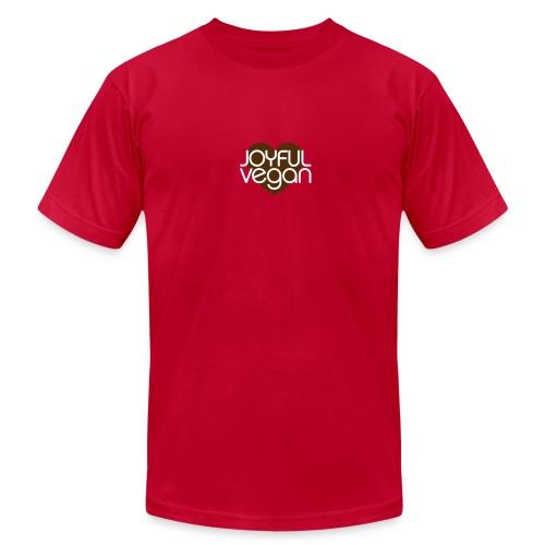 Men's Joyful Vegan - Deepest Values Quote on Back - Men's Fine Jersey T-Shirt