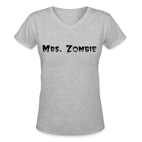 Mrs Zombie in White - Women's V-Neck T-Shirt